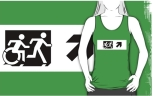 Accessible Exit Sign Project Wheelchair Wheelie Running Man Symbol Means of Egress Icon Disability Emergency Evacuation Fire Safety Adult T-shirt 66