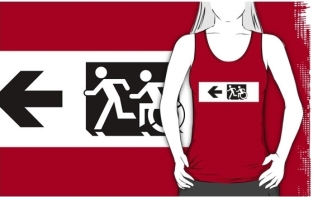 Accessible Exit Sign Project Wheelchair Wheelie Running Man Symbol Means of Egress Icon Disability Emergency Evacuation Fire Safety Adult T-shirt 661