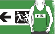 Accessible Exit Sign Project Wheelchair Wheelie Running Man Symbol Means of Egress Icon Disability Emergency Evacuation Fire Safety Adult T-shirt 665