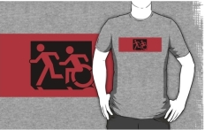 Accessible Exit Sign Project Wheelchair Wheelie Running Man Symbol Means of Egress Icon Disability Emergency Evacuation Fire Safety Adult T-shirt 666