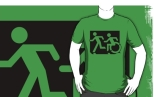 Accessible Exit Sign Project Wheelchair Wheelie Running Man Symbol Means of Egress Icon Disability Emergency Evacuation Fire Safety Adult T-shirt 67