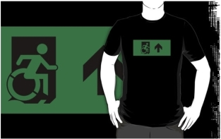 Accessible Exit Sign Project Wheelchair Wheelie Running Man Symbol Means of Egress Icon Disability Emergency Evacuation Fire Safety Adult t-shirt 68