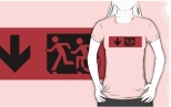 Accessible Exit Sign Project Wheelchair Wheelie Running Man Symbol Means of Egress Icon Disability Emergency Evacuation Fire Safety Adult T-shirt 7