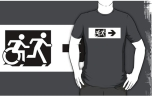 Accessible Exit Sign Project Wheelchair Wheelie Running Man Symbol Means of Egress Icon Disability Emergency Evacuation Fire Safety Adult T-shirt 70