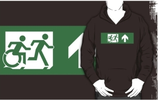 Accessible Exit Sign Project Wheelchair Wheelie Running Man Symbol Means of Egress Icon Disability Emergency Evacuation Fire Safety Adult T-shirt 72