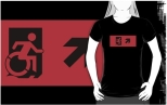 Accessible Exit Sign Project Wheelchair Wheelie Running Man Symbol Means of Egress Icon Disability Emergency Evacuation Fire Safety Adult t-shirt 73