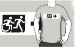 Accessible Exit Sign Project Wheelchair Wheelie Running Man Symbol Means of Egress Icon Disability Emergency Evacuation Fire Safety Adult T-shirt 75