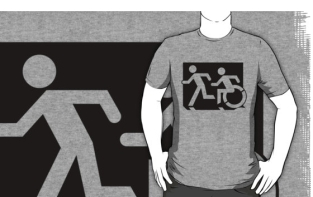Accessible Exit Sign Project Wheelchair Wheelie Running Man Symbol Means of Egress Icon Disability Emergency Evacuation Fire Safety Adult T-shirt 76