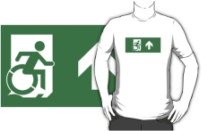 Accessible Exit Sign Project Wheelchair Wheelie Running Man Symbol Means of Egress Icon Disability Emergency Evacuation Fire Safety Adult t-shirt 77