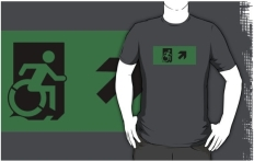 Accessible Exit Sign Project Wheelchair Wheelie Running Man Symbol Means of Egress Icon Disability Emergency Evacuation Fire Safety Adult t-shirt 78