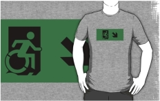 Accessible Exit Sign Project Wheelchair Wheelie Running Man Symbol Means of Egress Icon Disability Emergency Evacuation Fire Safety Adult t-shirt 79