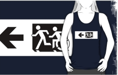 Accessible Exit Sign Project Wheelchair Wheelie Running Man Symbol Means of Egress Icon Disability Emergency Evacuation Fire Safety Adult T-shirt 8