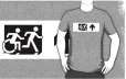 Accessible Exit Sign Project Wheelchair Wheelie Running Man Symbol Means of Egress Icon Disability Emergency Evacuation Fire Safety Adult T-shirt 80