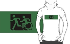Accessible Exit Sign Project Wheelchair Wheelie Running Man Symbol Means of Egress Icon Disability Emergency Evacuation Fire Safety Adult T-shirt 81