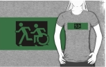 Accessible Exit Sign Project Wheelchair Wheelie Running Man Symbol Means of Egress Icon Disability Emergency Evacuation Fire Safety Adult T-shirt 82
