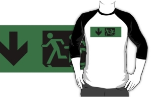 Accessible Exit Sign Project Wheelchair Wheelie Running Man Symbol Means of Egress Icon Disability Emergency Evacuation Fire Safety Adult T-shirt 84