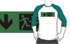 Accessible Exit Sign Project Wheelchair Wheelie Running Man Symbol Means of Egress Icon Disability Emergency Evacuation Fire Safety Adult T-shirt 85