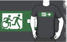 Accessible Exit Sign Project Wheelchair Wheelie Running Man Symbol Means of Egress Icon Disability Emergency Evacuation Fire Safety Adult T-shirt 87