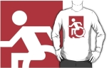 Accessible Exit Sign Project Wheelchair Wheelie Running Man Symbol Means of Egress Icon Disability Emergency Evacuation Fire Safety Adult t-shirt 88