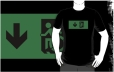 Accessible Exit Sign Project Wheelchair Wheelie Running Man Symbol Means of Egress Icon Disability Emergency Evacuation Fire Safety Adult t-shirt 90
