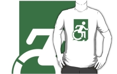 Accessible Exit Sign Project Wheelchair Wheelie Running Man Symbol Means of Egress Icon Disability Emergency Evacuation Fire Safety Adult t-shirt 91