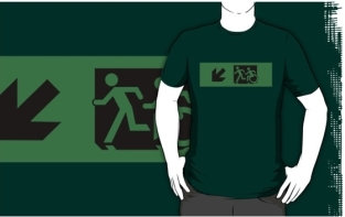 Accessible Exit Sign Project Wheelchair Wheelie Running Man Symbol Means of Egress Icon Disability Emergency Evacuation Fire Safety Adult T-shirt 92
