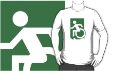 Accessible Exit Sign Project Wheelchair Wheelie Running Man Symbol Means of Egress Icon Disability Emergency Evacuation Fire Safety Adult t-shirt 93