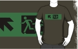 Accessible Exit Sign Project Wheelchair Wheelie Running Man Symbol Means of Egress Icon Disability Emergency Evacuation Fire Safety Adult T-shirt 94