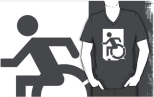 Accessible Exit Sign Project Wheelchair Wheelie Running Man Symbol Means of Egress Icon Disability Emergency Evacuation Fire Safety Adult t-shirt 95