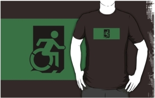 Accessible Exit Sign Project Wheelchair Wheelie Running Man Symbol Means of Egress Icon Disability Emergency Evacuation Fire Safety Adult t-shirt 96