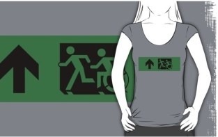 Accessible Exit Sign Project Wheelchair Wheelie Running Man Symbol Means of Egress Icon Disability Emergency Evacuation Fire Safety Adult T-shirt 98