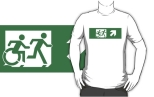 Accessible Exit Sign Project Wheelchair Wheelie Running Man Symbol Means of Egress Icon Disability Emergency Evacuation Fire Safety Adult T-shirt 99
