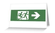 Accessible Exit Sign Project Wheelchair Wheelie Running Man Symbol Means of Egress Icon Disability Emergency Evacuation Fire Safety Greeting Card 10