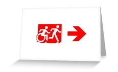 Accessible Exit Sign Project Wheelchair Wheelie Running Man Symbol Means of Egress Icon Disability Emergency Evacuation Fire Safety Greeting Card 103