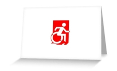 Accessible Exit Sign Project Wheelchair Wheelie Running Man Symbol Means of Egress Icon Disability Emergency Evacuation Fire Safety Greeting Card 104