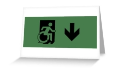 Accessible Exit Sign Project Wheelchair Wheelie Running Man Symbol Means of Egress Icon Disability Emergency Evacuation Fire Safety Greeting Card 105