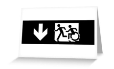 Accessible Exit Sign Project Wheelchair Wheelie Running Man Symbol Means of Egress Icon Disability Emergency Evacuation Fire Safety Greeting Card 106