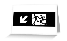 Accessible Exit Sign Project Wheelchair Wheelie Running Man Symbol Means of Egress Icon Disability Emergency Evacuation Fire Safety Greeting Card 107