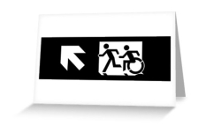 Accessible Exit Sign Project Wheelchair Wheelie Running Man Symbol Means of Egress Icon Disability Emergency Evacuation Fire Safety Greeting Card 108