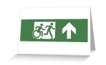 Accessible Exit Sign Project Wheelchair Wheelie Running Man Symbol Means of Egress Icon Disability Emergency Evacuation Fire Safety Greeting Card 11