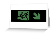 Accessible Exit Sign Project Wheelchair Wheelie Running Man Symbol Means of Egress Icon Disability Emergency Evacuation Fire Safety Greeting Card 110