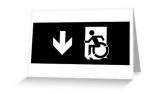 Accessible Exit Sign Project Wheelchair Wheelie Running Man Symbol Means of Egress Icon Disability Emergency Evacuation Fire Safety Greeting Card 111