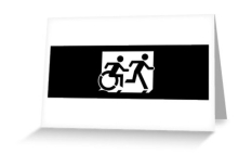 Accessible Exit Sign Project Wheelchair Wheelie Running Man Symbol Means of Egress Icon Disability Emergency Evacuation Fire Safety Greeting Card 112