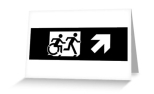 Accessible Exit Sign Project Wheelchair Wheelie Running Man Symbol Means of Egress Icon Disability Emergency Evacuation Fire Safety Greeting Card 115