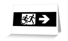 Accessible Exit Sign Project Wheelchair Wheelie Running Man Symbol Means of Egress Icon Disability Emergency Evacuation Fire Safety Greeting Card 116