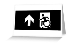 Accessible Exit Sign Project Wheelchair Wheelie Running Man Symbol Means of Egress Icon Disability Emergency Evacuation Fire Safety Greeting Card 117