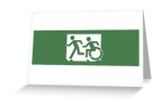 Accessible Exit Sign Project Wheelchair Wheelie Running Man Symbol Means of Egress Icon Disability Emergency Evacuation Fire Safety Greeting Card 118
