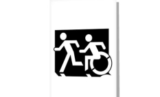 Accessible Exit Sign Project Wheelchair Wheelie Running Man Symbol Means of Egress Icon Disability Emergency Evacuation Fire Safety Greeting Card 121