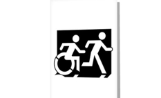 Accessible Exit Sign Project Wheelchair Wheelie Running Man Symbol Means of Egress Icon Disability Emergency Evacuation Fire Safety Greeting Card 122