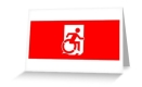 Accessible Exit Sign Project Wheelchair Wheelie Running Man Symbol Means of Egress Icon Disability Emergency Evacuation Fire Safety Greeting Card 124